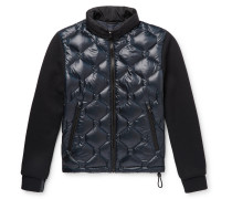 Panelled Jersey and Quilted Shell Hooded Down Jacket