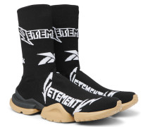 + Reebok Sock Pump Logo-jacquard Stretch-knit Sneakers