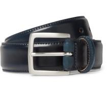 3.5cm Dark-blue Horween Shell Cordovan Leather Belt - Navy