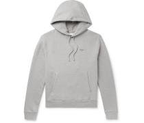Logo-print Mélange Loopback Cotton-jersey Hoodie - Gray