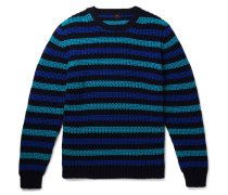 Slim-fit Striped Cotton Sweater - Navy
