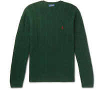 Cable-knit Merino Wool And Cashmere-blend Sweater - Green