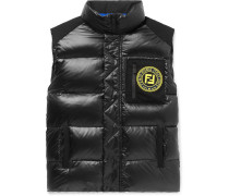 Logo-appliquéd Quilted Nylon Down Gilet