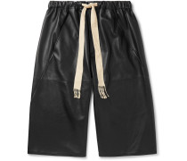 Leather Drawstring Shorts - Black