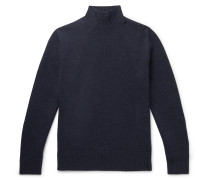 Mélange Wool and Cashmere-Blend Mock-Neck Sweater