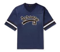 Oversized Logo-appliquéd Striped Tech-jersey T-shirt - Navy