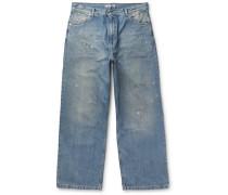 Vast Wide-leg Distressed Denim Jeans - Blue