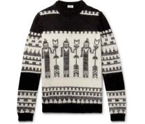 Slim-fit Jacquard-knit Sweater - Black
