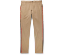 Slim-fit Grosgrain-trimmed Cotton-twill Chinos - Camel