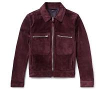 Slim-fit Suede Blouson Jacket - Burgundy
