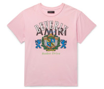 Distressed Printed Cotton-jersey T-shirt - Pink