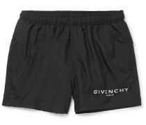 Slim-fit Short-length Logo-print Swim Shorts - Black