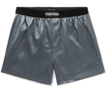 Velvet-trimmed Stretch-silk Satin Boxer Shorts - Dark gray