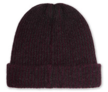 Watchman Striped Ribbed Cashmere Beanie - Burgundy