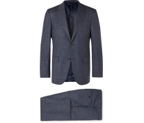 Navy Milano Easy Slim-fit Mélange Wool, Linen And Silk-blend Suit - Navy