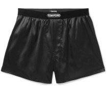 Velvet-trimmed Stretch-silk Satin Boxer Shorts - Black