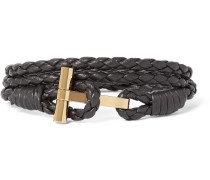 Woven Leather And Gold-plated Wrap Bracelet