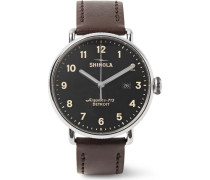 The Canfield 43mm Stainless Steel And Leather Watch - Black