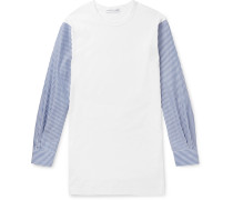 Slim-fit Panelled Cotton-jersey And Striped Poplin T-shirt - White