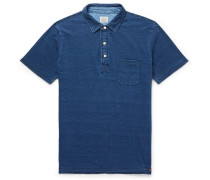 Indigo-dyed Slub Cotton Polo Shirt - Indigo