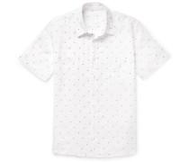 Embroidered Polka-dot Linen Shirt - White