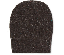 Ribbed Donegal Mélange Wool And Cashmere-blend Beanie - Brown