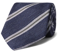 + Drake's 8cm Striped Silk And Linen-blend Tie