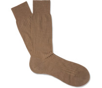 Laburnum Ribbed Merino Wool-blend Socks - Brown