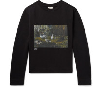 Oslavi P Geese Printed Loopback Cotton-jersey Sweatshirt - Black