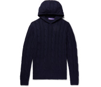 Slim-fit Cable-knit Cashmere Hoodie