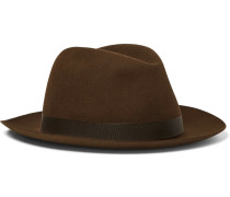 Grosgrain-trimmed Wool-felt Trilby Hat