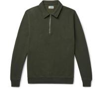 Fleece-Back Cotton-Blend-Blend Half-Zip Sweater
