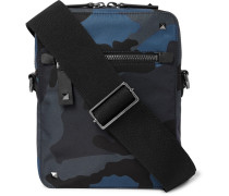Valentino Garavani Leather-trimmed Camouflage-print Canvas Messenger Bag - Navy
