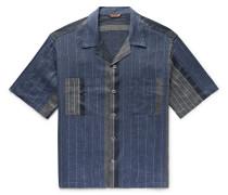 Camp-Collar Patchwork Striped Linen and Cotton-Blend Shirt