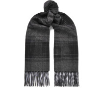 Checked Fringed Cashmere And Silk-blend Scarf