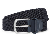 3.5cm Navy Leather-trimmed Woven Elastic Belt