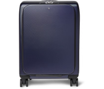 Nightflight Leather-trimmed Hardshell Carry-on Suitcase