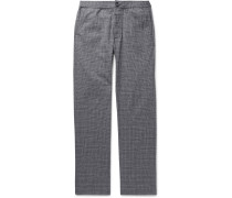 Prince of Wales Checked Cotton-Blend Seersucker Trousers