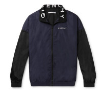 Logo-print Colour-block Shell Track Jacket - Navy