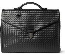 Intrecciato Leather Briefcase - Black