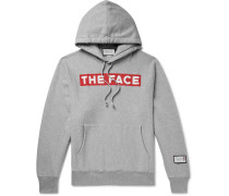 + The Face Oversized Logo-Print Mélange Loopback Cotton-Jersey Hoodie