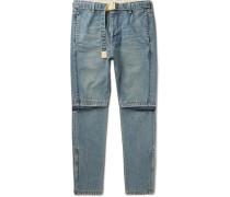Tapered Zip-detailed Denim Jeans - Navy