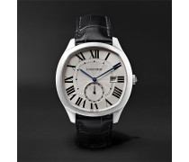 Drive De Cartier Automatic 41mm Steel And Alligator Watch - Silver