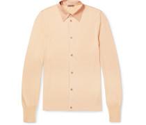 Silk Satin-trimmed Knitted Shirt