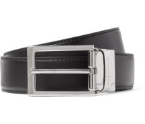 3cm Black And Brown Reversible Leather Belt - Black