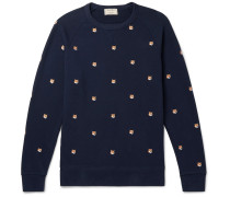 Slim-fit Embroidered Loopback Cotton-jersey Sweatshirt - Navy