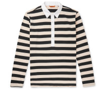 Poplin-Trimmed Striped Cotton-Jersey Polo Shirt