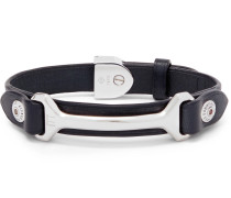 Leather And Silver-tone Bracelet - Navy