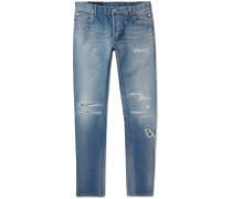 Skinny-fit Distressed Denim Jeans - Blue