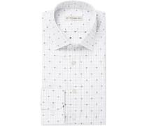 White Paisley-print Cotton-jacquard Shirt